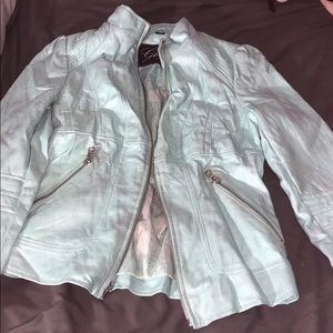 Blue shine genuine Guess Leather Jacket